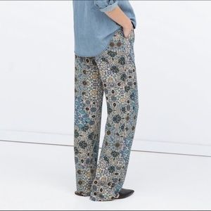 Zara Wide Paisley Print Trousers